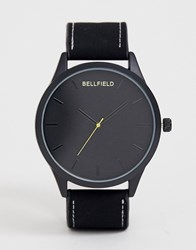 Bellfield Black Dial Watch With Black Strap