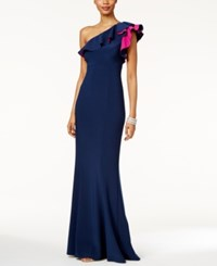 Xscape Evenings Ruffled One Shoulder Gown Navy Fuchsia