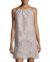 Max Studio Lace Halter Shift Dress Gray