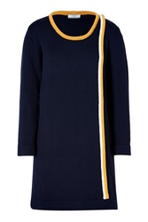 Bouchra Jarrar Wool Contrast Trim Dress In Black