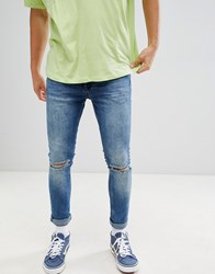 Your Turn Yourturn Super Skinny Jeans With Knee Rips In Midwash Blue