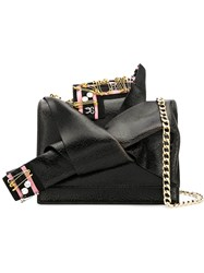 N 21 No21 Embellished Abstract Bow Cross Body Bag Black