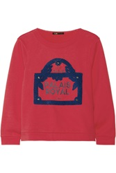Maje Guillaume Embellished Cotton French Terry Sweatshirt Red