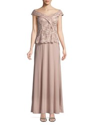 Cachet Embroidered Off The Shoulder Gown Blush