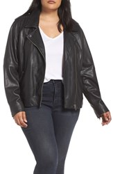 Lucky Brand Plus Size Core Leather Moto Jacket Lucky Black