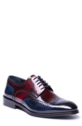 Jared Lang Bryce Wingtip Derby Red Blue Leather