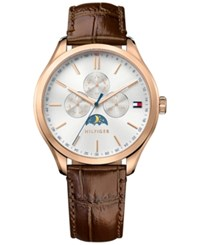 Tommy Hilfiger Men's Sport Lux Brown Leather Strap Watch 42Mm 1791306