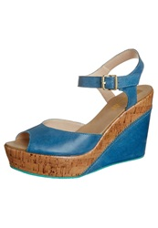 Pier One Wedge Sandals Jeans Blue
