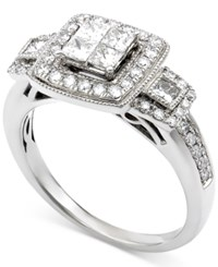 Macy's Diamond Quad Cluster Engagement Ring 1 Ct. T.W. In 14K White Gold