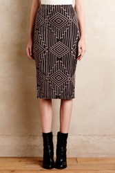Plenty By Tracy Reese Geo Knit Pencil Skirt Black Motif