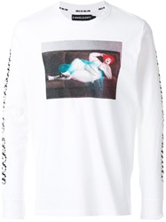 House Of Holland Printed Long Sleeve T Shirt Cotton White