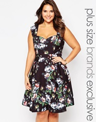 Paper Dolls Plus Floral Print Prom Dress Black