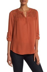 Daniel Rainn Crochet Yoke Blouse Orange