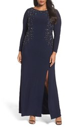 Alex Evenings Plus Size Women's Embellished A Line Jersey Gown