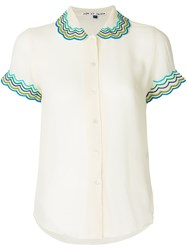 Jupe By Jackie Scalloped Collar Blouse Silk White