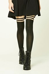 Forever 21 Colorblock Striped Tights Nude Black