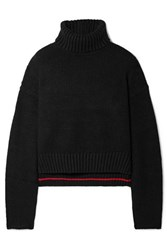 Proenza Schouler Cropped Knitted Turtleneck Sweater Black
