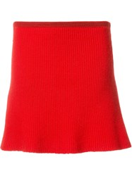 The Elder Statesman Ribbed A Line Knitted Skirt Red