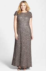 Plus Size Women's Adrianna Papell Embellished Scoop Back Gown Lead