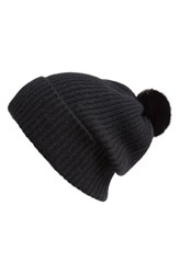 Women's Badgley Mischka Rib Knit Beanie With Genuine Mink Pompom