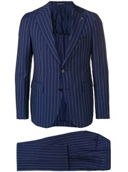 Tagliatore Two Piece Pinstriped Suit Blue