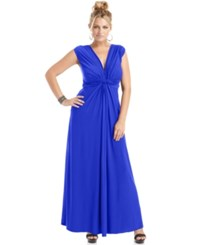 Love Squared Trendy Plus Size Sleeveless Knotted Maxi Dress Cobalt