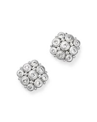 Judith Ripka Sterling Silver Snowflake Stud Earrings With White Sapphire White Silver