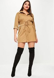 Missguided Plus Size Camel Corset Detail Shirt Dress