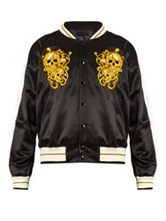 Alexander Mcqueen Skull Embroidered Bomber Jacket Black Multi