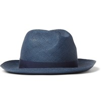 Loro Piana Laurence Straw Panama Hat Blue