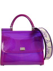 Dolce And Gabbana Sicily Faux Patent Leather Bag Purple