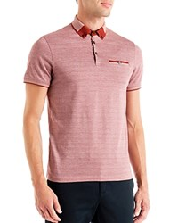 Ted Baker Taytay Color Block Oxford Relaxed Fit Polo Brick Red