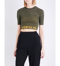 Versus By Versace Logo Print Pointelle Knit Cropped Top Army Orange