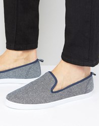 New Look Slip On Plimsolls In Blue Navy