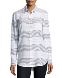 Equipment Reese Striped Long Sleeve Oxford Shirt White Blue White Blue