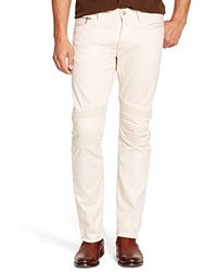 Ralph Lauren Black Label Jeans Piston Moto Slim Fit In Rail Cream