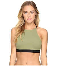 Hurley Quick Dry High Neck Top Palm Green Women's Swimwear Olive