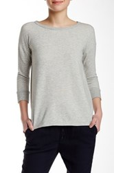 James Perse Striped Boatneck Pullover Gray