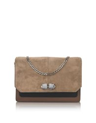 Carven Color Block Suede And Leather Flap Shoulder Bag Brown