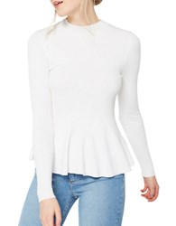 Miss Selfridge Long Sleeve Peplum Top Cream
