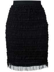 Givenchy Ruffle Embellished Pencil Skirt Black