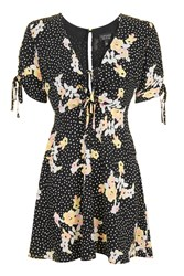 Topshop Petite Spot And Floral Tea Dress Black