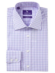 Chester Barrie By Grid Check Tailored Fit Shirt Lilac Sky