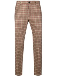 Department 5 Checked Slim Fit Trousers Nude And Neutrals
