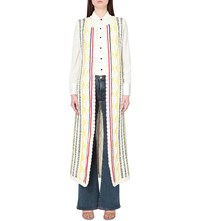 Alice Olivia Rudy Contrast Knit Long Vest Off White Multi