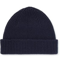 Paul Smith Ribbed Cashmere And Wool Blend Beanie Navy