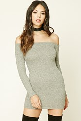 Forever 21 Off The Shoulder Mini Dress Heather Grey