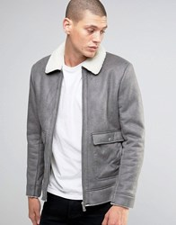 Brave Soul Faux Shearling Sherpa Collar Jacket Grey