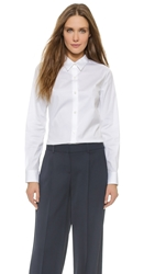 Theory Luxe Tenia Button Down Blouse White