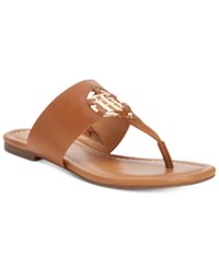 Tommy Hilfiger Sia Slip On Thong Sandals Women's Shoes Luggage